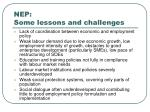 nep some lessons and challenges