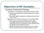 objectives of ep examples