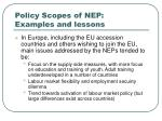 policy scopes of nep examples and lessons