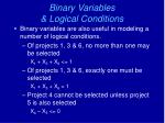 binary variables logical conditions