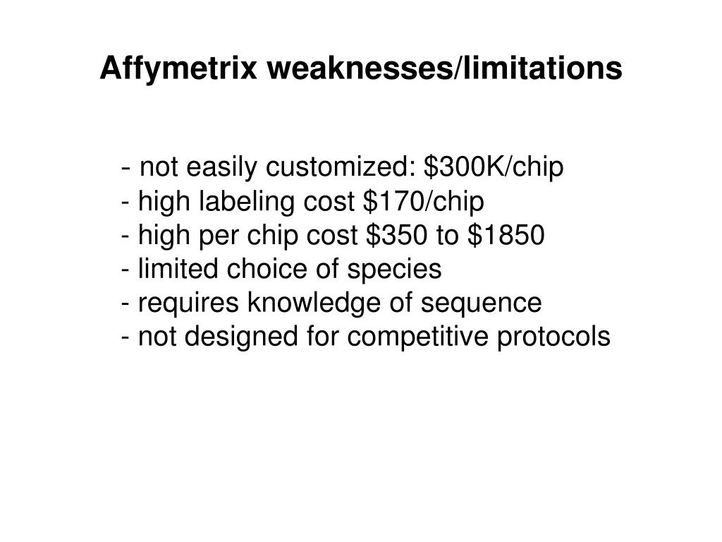 Affymetrix weaknesses/limitations