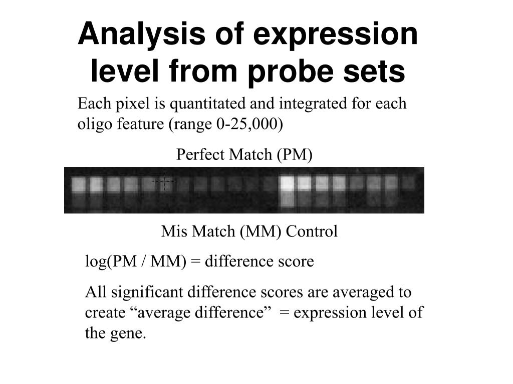 Analysis of expression level from probe sets