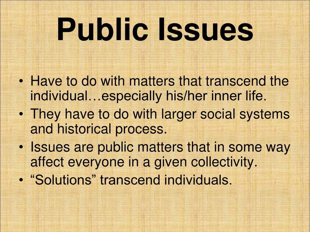 Defining personal troubles, public issues?