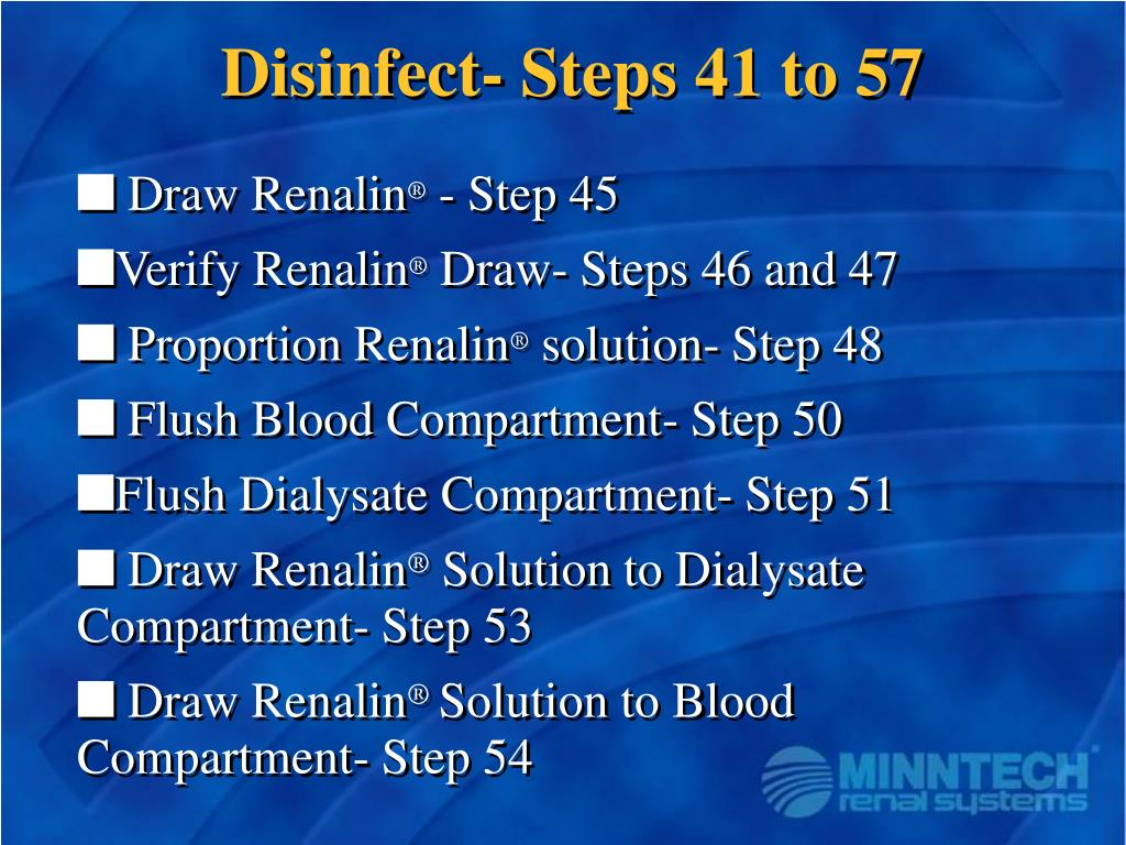 Disinfect- Steps 41 to 57