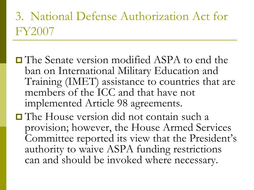 3.  National Defense Authorization Act for FY2007