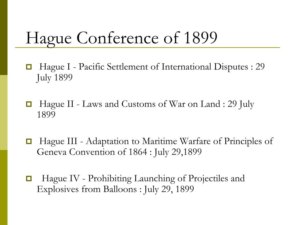 Hague Conference of 1899