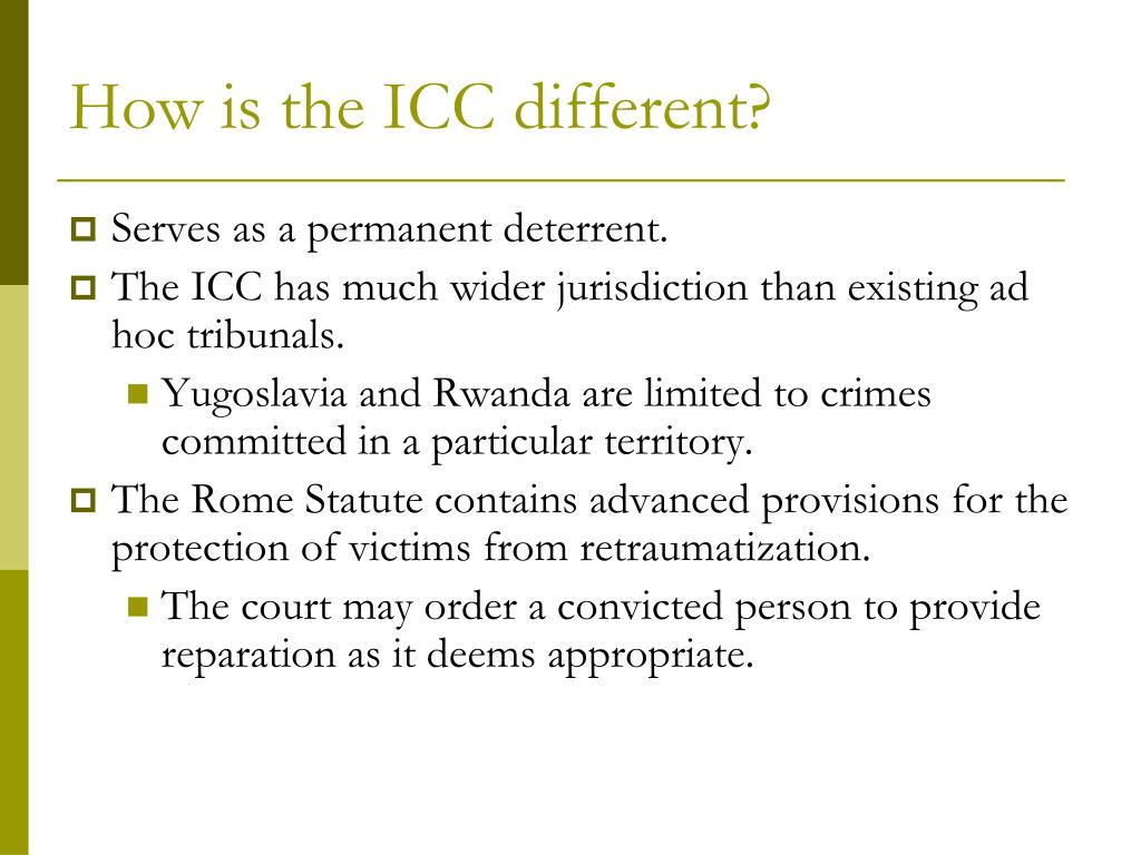 How is the ICC different?