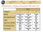 highlights of questionnaire results 2