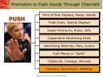 promotion to push goods through channels