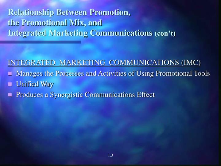 Relationship between promotion the promotional mix and integrated marketing communications con t