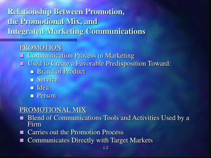 Relationship between promotion the promotional mix and integrated marketing communications