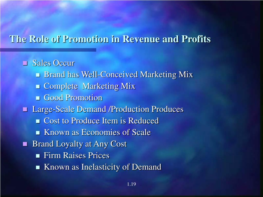 The Role of Promotion in Revenue and Profits