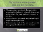 operations management and the big picture
