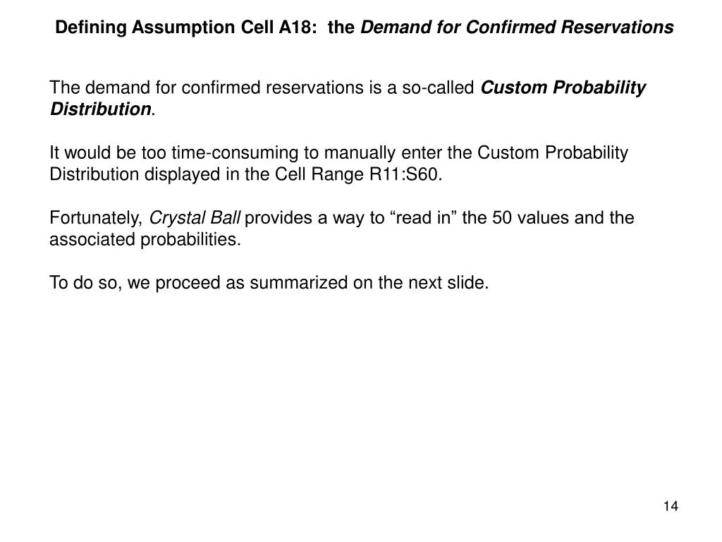 Defining Assumption Cell A18:  the