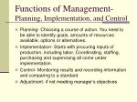 functions of management planning implementation and control