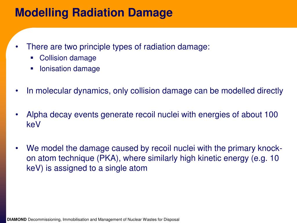 Modelling Radiation Damage