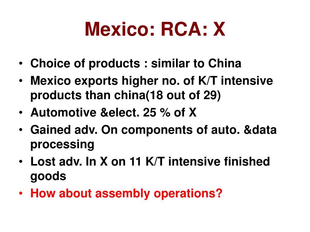 Mexico: RCA: X