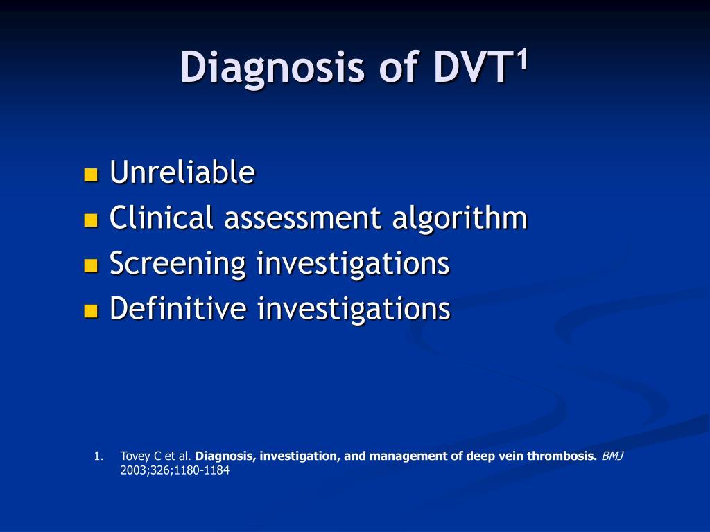 Diagnosis of DVT