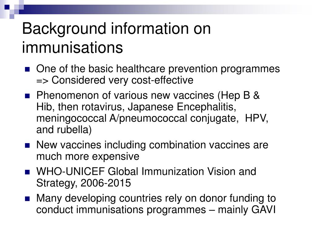 Background information on immunisations