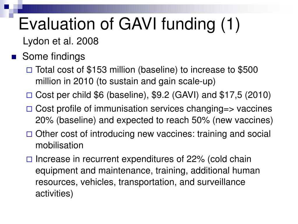 Evaluation of GAVI funding (1)