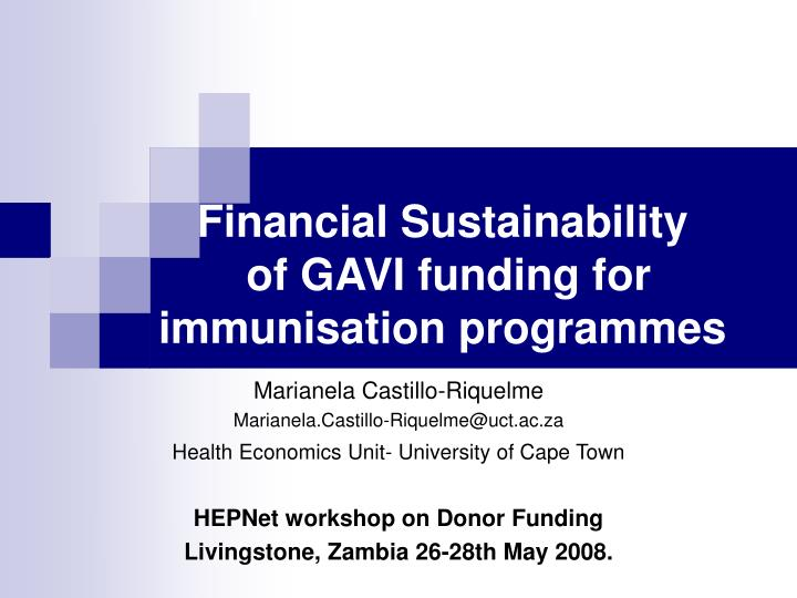 Financial sustainability of gavi funding for immunisation programmes