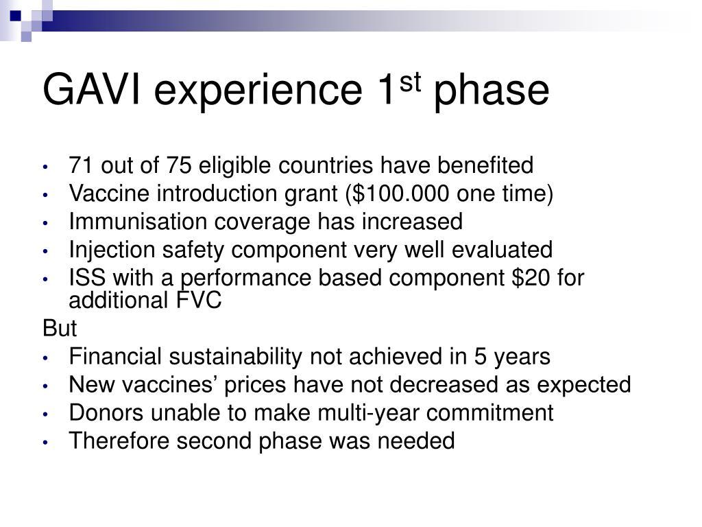 GAVI experience 1