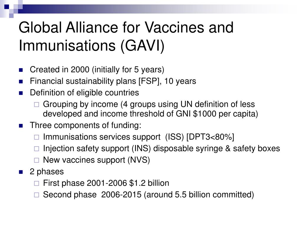 Global Alliance for Vaccines and Immunisations (GAVI)