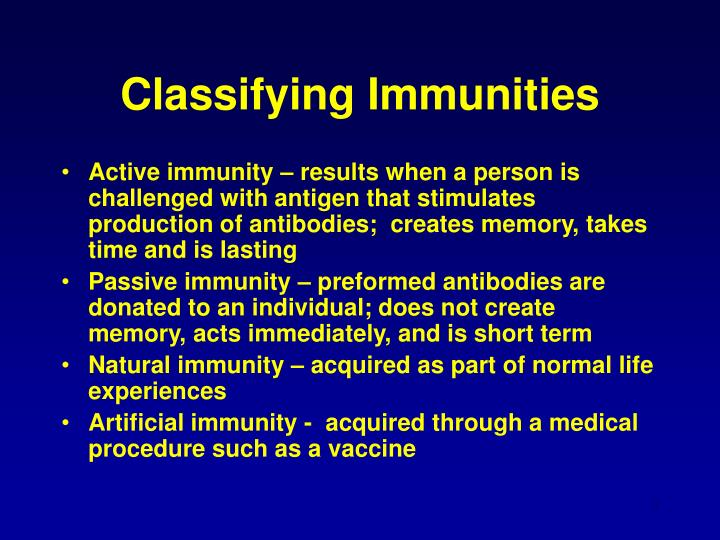 Classifying immunities