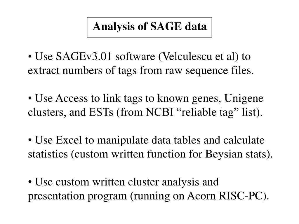 Analysis of SAGE data