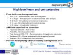 high level team and competencies