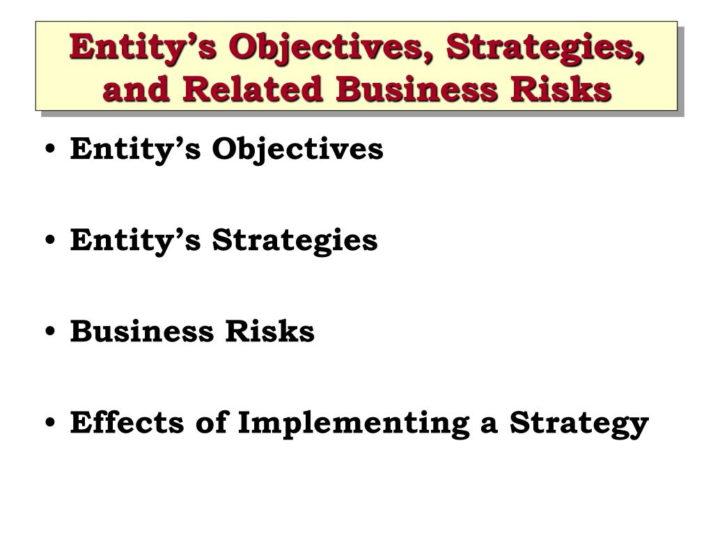 Entity's Objectives, Strategies, and Related Business Risks