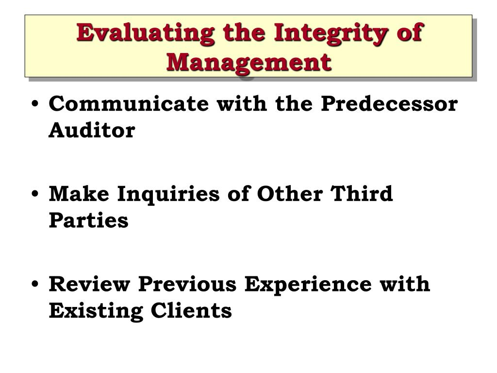 Evaluating the Integrity of Management