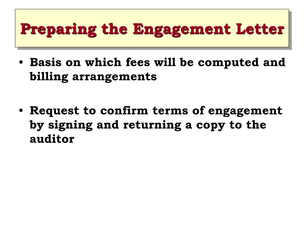 Preparing the Engagement Letter
