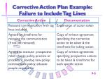 corrective action plan example failure to include tag lines