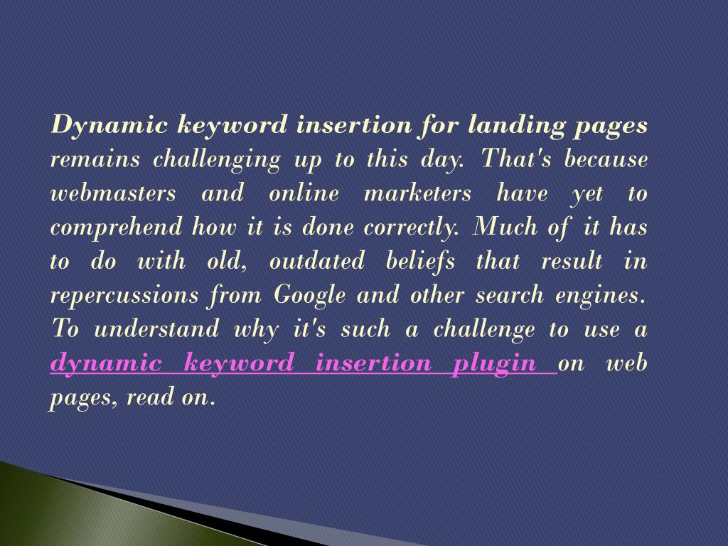 Dynamic keyword insertion for landing pages