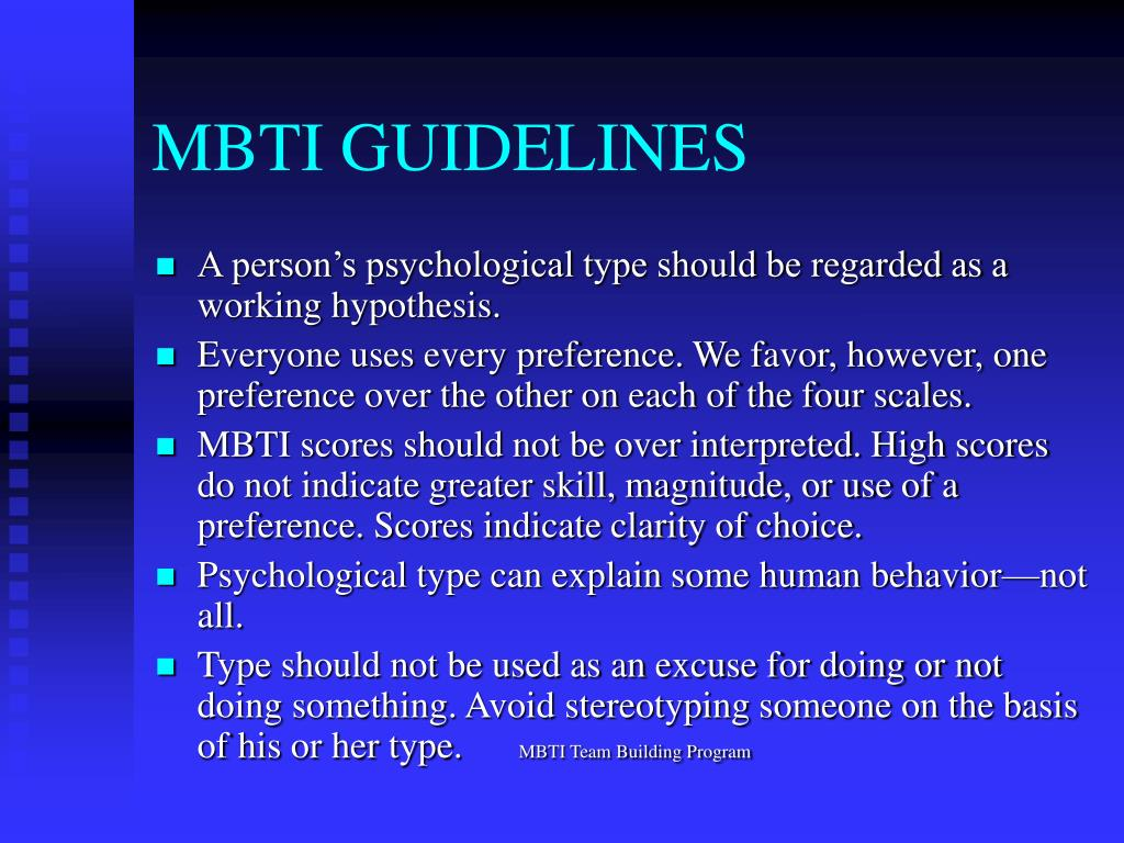MBTI GUIDELINES