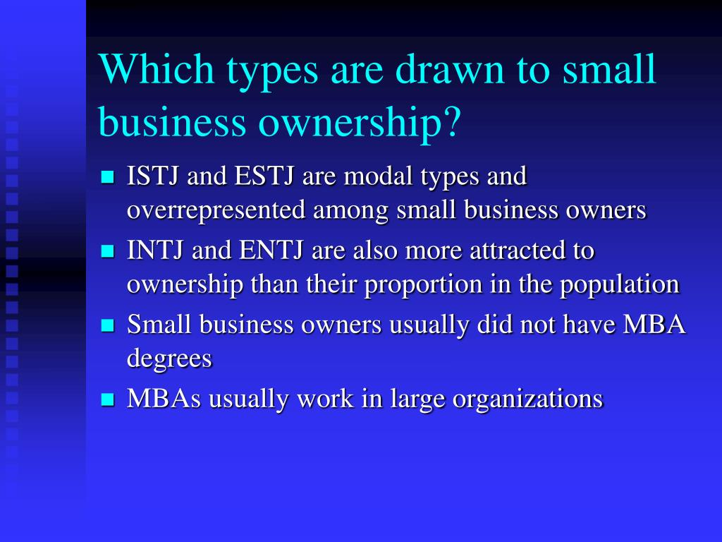 Which types are drawn to small business ownership?