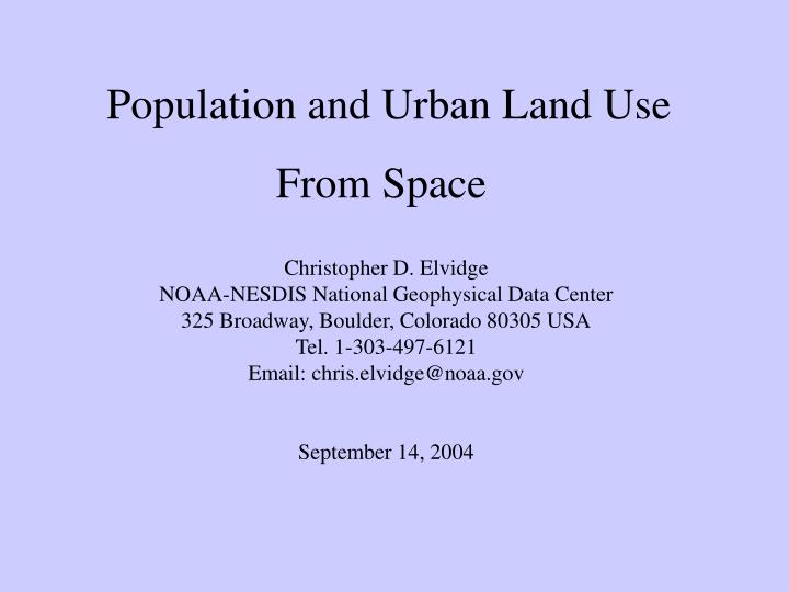 Population and Urban Land Use