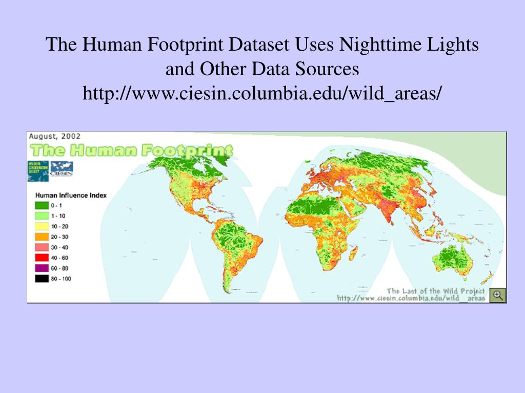 The Human Footprint Dataset Uses Nighttime Lights and Other Data Sources