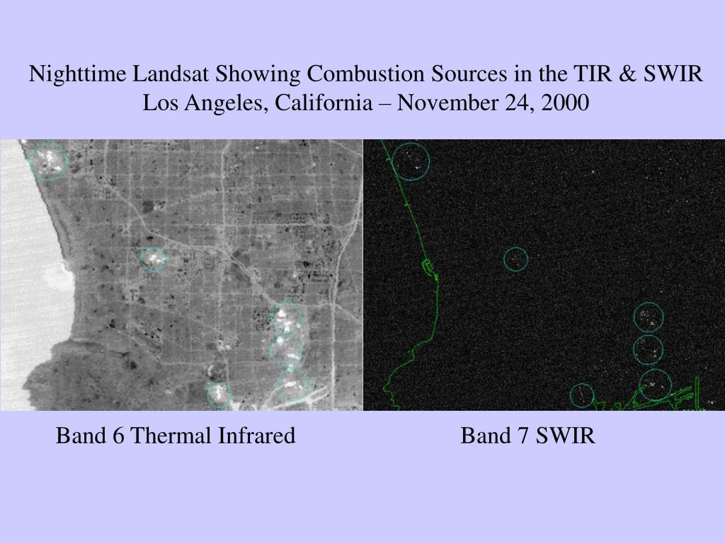 Nighttime Landsat Showing Combustion Sources in the TIR & SWIR