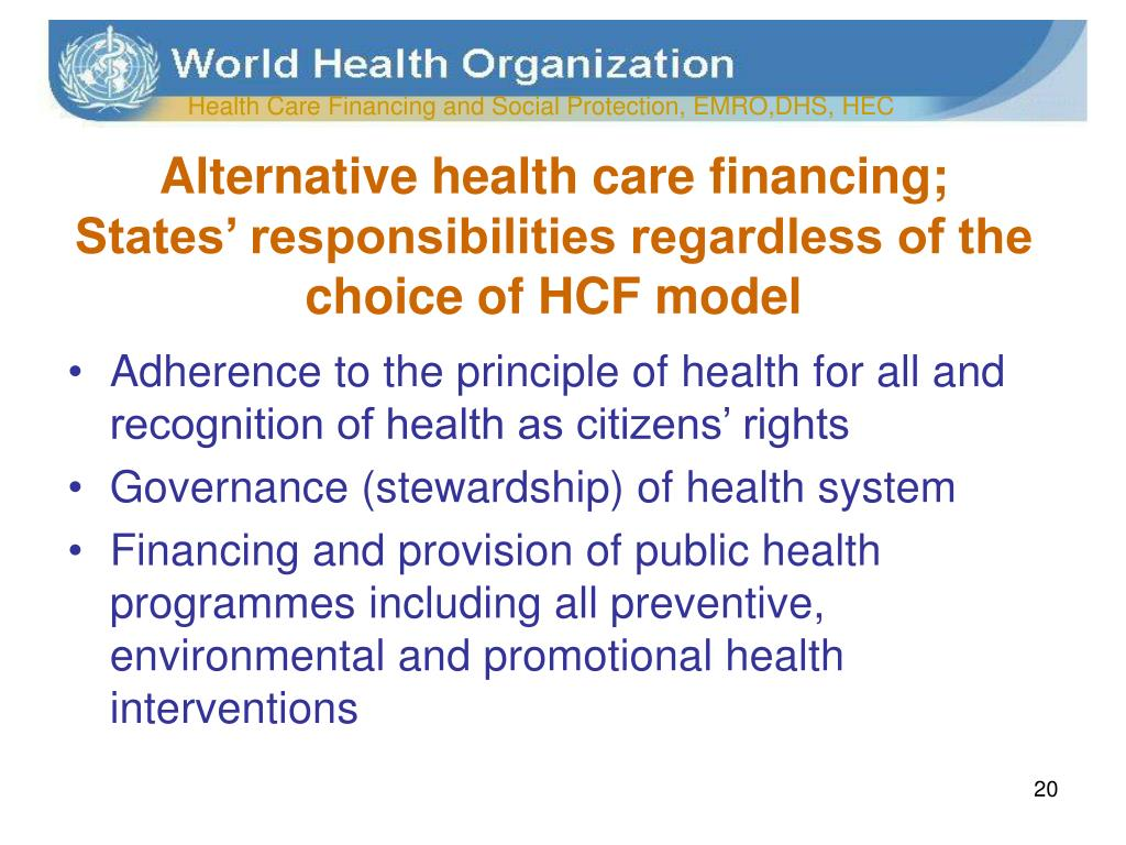 Alternative health care financing;