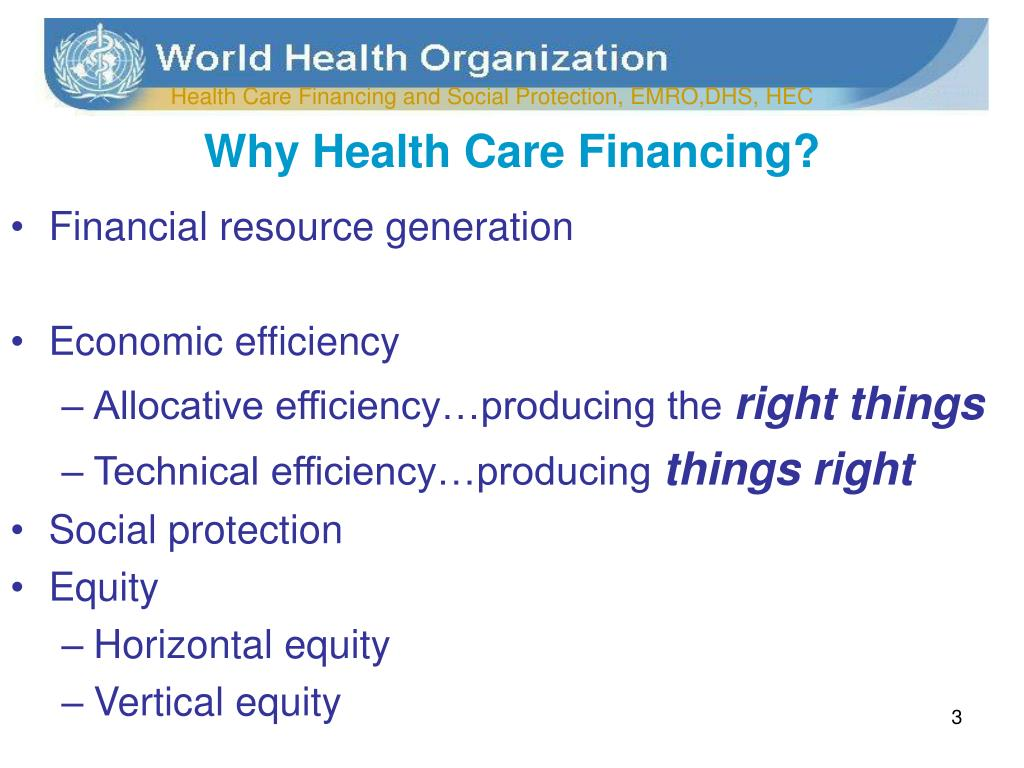 Why Health Care Financing?