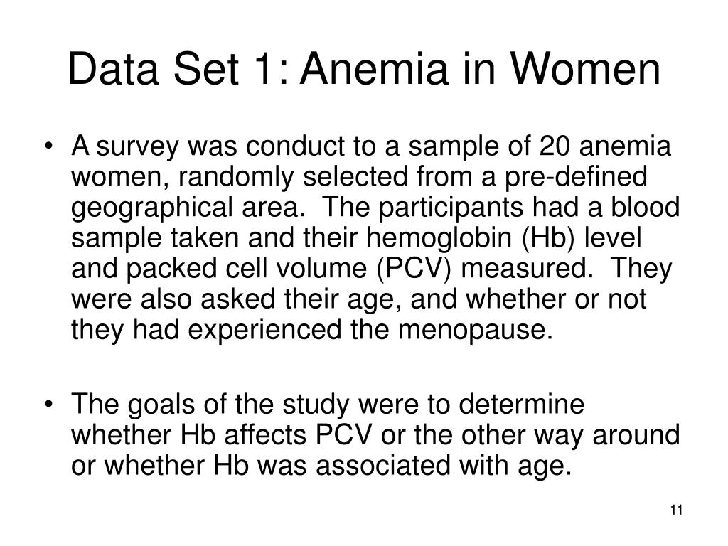 Data Set 1: Anemia in Women