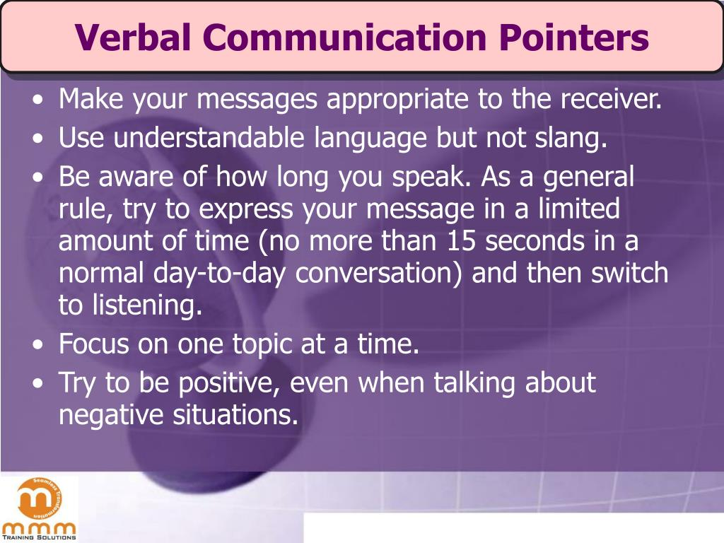 Verbal Communication Pointers