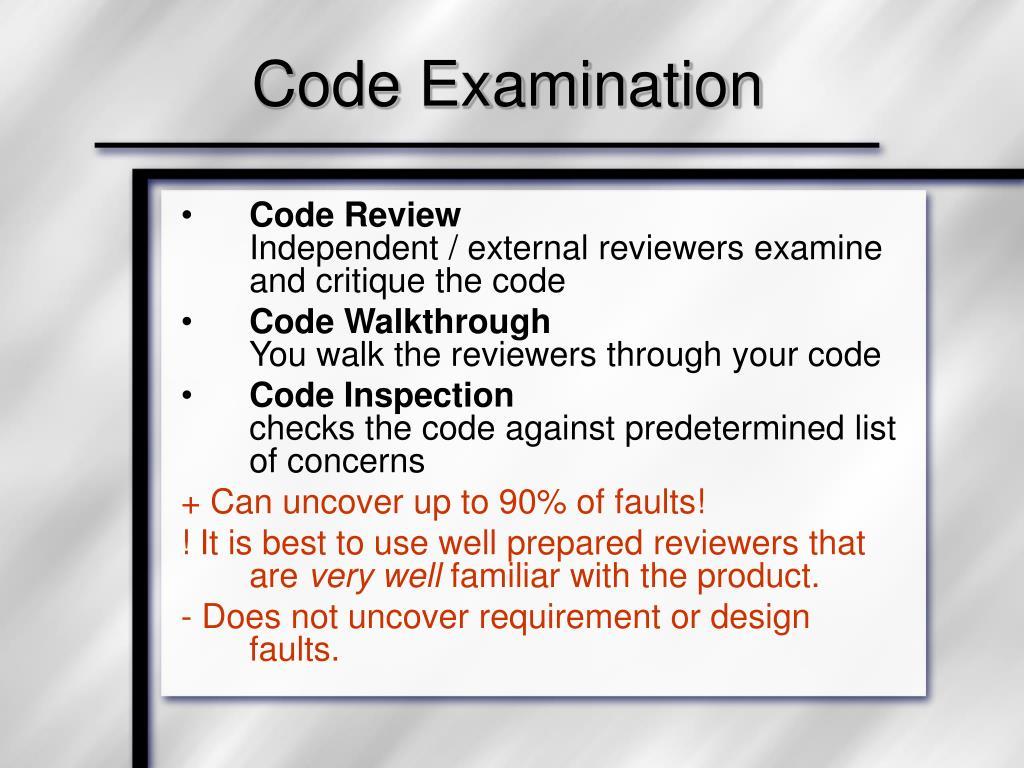 Code Examination