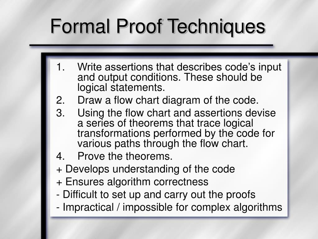 Formal Proof Techniques