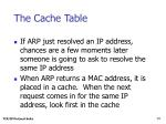 the cache table