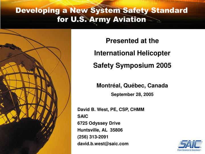 Developing a new system safety standard for u s army aviation l.jpg