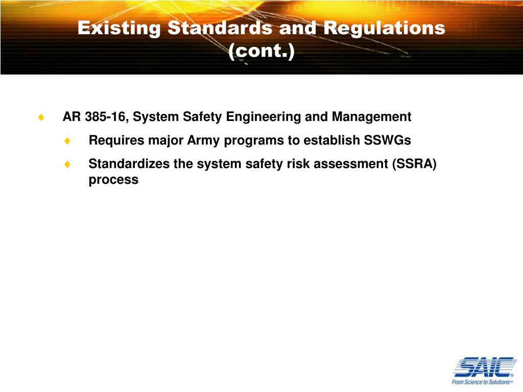 Existing Standards and Regulations (cont.)