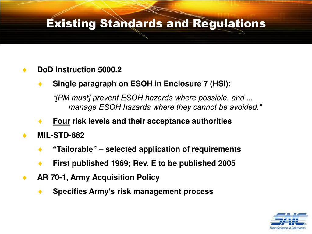 Existing Standards and Regulations
